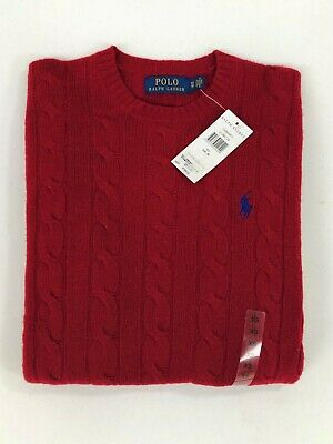 Polo Ralph Lauren Men's Cable Knit Crew Neck Red Jumper BNWT Wool