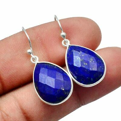 Faceted-Lapis Lazuli Solid 925 Sterling Silver Earring Jewelry SE-13040