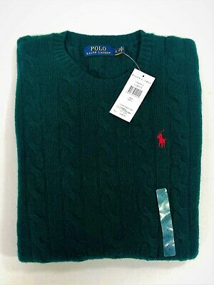 Polo Ralph Lauren Men's Cable Knit Crew Neck Green Jumper BNWT Wool