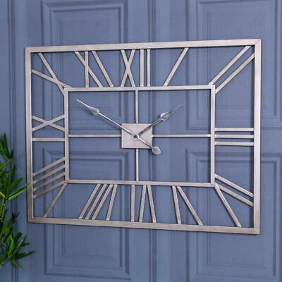 Large Silver Rectangle Skeleton Wall Clock Metal Hallway Kitchen Chic Home