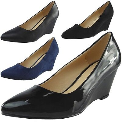 Womens Ladies Low Mid Heel Casual Office Work Pointed Toe Court Shoes Size