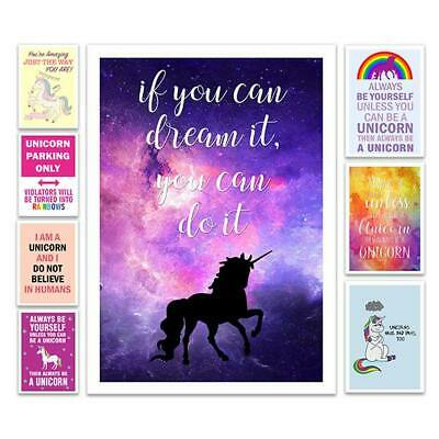 Unicorn Posters Prints A3 / A4 Wall Art Decor Home Bedroom