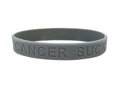SALE SECONDS Cancer Sucks Wristband Grey Gray Bracelet Silicone Band 202mm