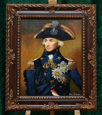 """""""Portrait Of Lord Horatio Nelson"""" Museum Quality Oil Painting Wooden Framed"""