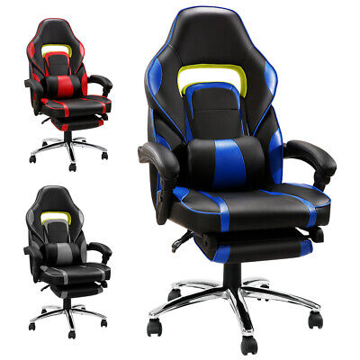 Executive Gaming Office Chair Racing Computer Desk Chair PU Leather Footstool UK