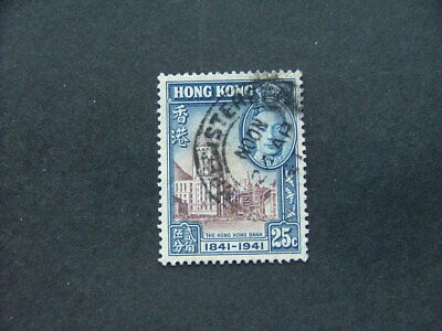 Hong Kong KGVI 1941 Centenary 25c chocolate & blue SG167 GU