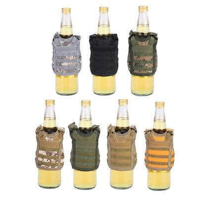 Military Tactical Mini Vest Soda Beer Bottle Molle Layer Beverage Insulator SD