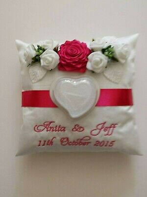 PERSONALISED embroidered wedding ring cushion pillow