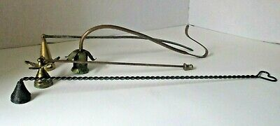 Lot of 4 vintage metal candle snuffers extinguisher 10-16 inches long