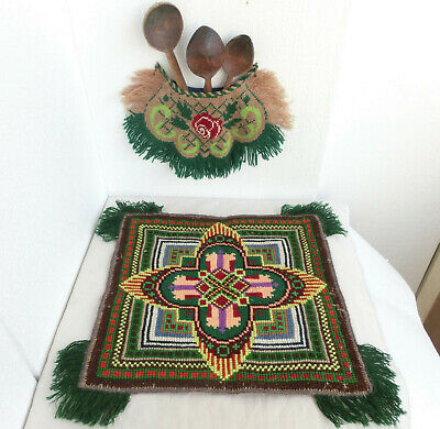 Antique Ottoman Turkish Islamic Embroidery Wool Table Cover+Wall Holder+3 Spoons
