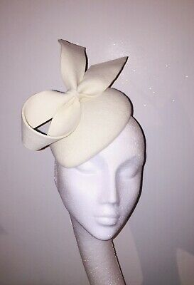 Ivory Wool Felt Fascinator Pointed Bow Detail Contemporary Vintage