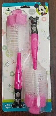 New Mickey Mouse or Minie Mouse 2pc Bottle Brush Gift Set
