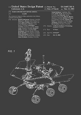 Patent Print - NASA/Mars Rover/JPL/Space - Vintage Poster Wall Art - A4