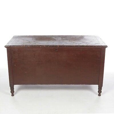 Antique blanket chest wood trunk painted maple stencil decorated strap hinges