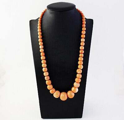 """Necklace Ball Graduated in Coral """" Cerasuolo Antique """" Vintage Early 1900"""