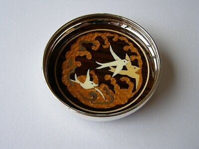 Silver Wine Coaster With Inlaid Rosewood Base. Sterling Silver Bottle Coaster