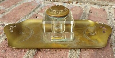 Antique 1800's Art Nouveau Brass German Inkwell Tray Stand Mark OE P 10385 DRGM