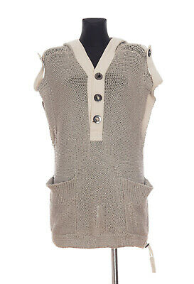 Marc Jacobs Womens Grey Knitted Hooded Silk Linen Blend Tunic Top Size XS