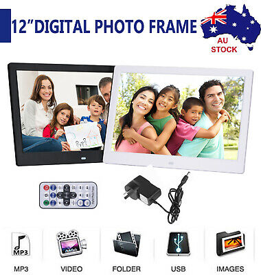 """12"""" HD LED Digital Photo Frame Picture Movie Player 1080p Mp4 Mp3 Remote Control"""