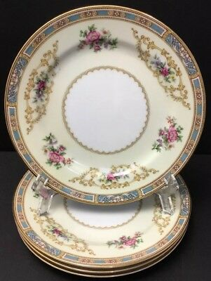 Noritake China Colby Blue 5032 Bread & Butter~Side 4 Plates~Japan~Floral~Roses