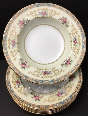 Noritake China Colby Blue 5032 Pasta~Soup~Plate~Bowl(s)~Japan~Floral~Roses