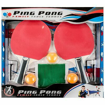 Family Table Tennis Complete Set 2 Paddle Bats 3 Ping Pong Balls Net With Clamps