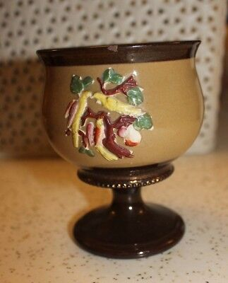 ANTIQUE COPPER LUSTRE WARE GOBLET, EMBOSSED FLOWERS, staffordshire,