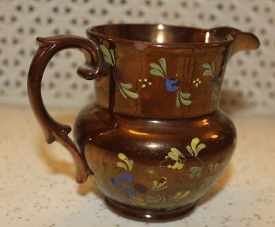 ANTIQUE COPPER LUSTRE WARE JUG, HAND PAINTED FLOWERS, staffordshire,