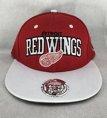 buy online 2d32d b586f Detroit Red Wings Mitchell   Ness Large Logo Vintage Snapback Hat White Cap  Wool