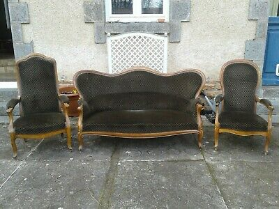 French antique vintage Louis XV style sofa and 2 chairs