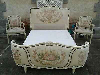 French antique vintage Louis XV style corbielle double bed and matching armchair