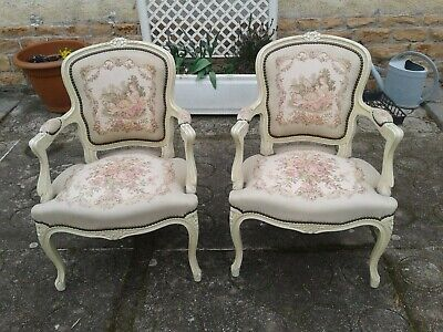 French antique vintage Louis XV style armchairs