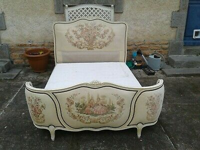 French antique vintage Louis XV style corbielle double bed