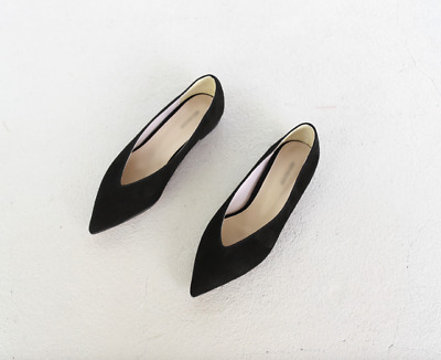 8fab3f05bf0 Handmade  Women Point Toe Flat Shoes V Neck Essential In Black Celin Suede  Leath