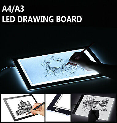 A3 A4 LED Drawing Board Ultra Slim Art Craft Copy Tracing Light Box Tattoo Pad
