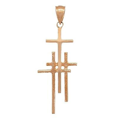 "14k Rose Gold Solid Religious Calvary 3 Cross Charm Pendant 1.48"" 2.1 grams"