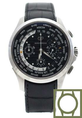 Girard Perregaux Traveller WW.TC Chrono 44mm Black Dial Crocodile Strap NEW