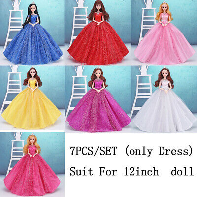 7PCS Barbie Doll Princess Clothes Wedding Party Dress Handmade Outfit for 12in.