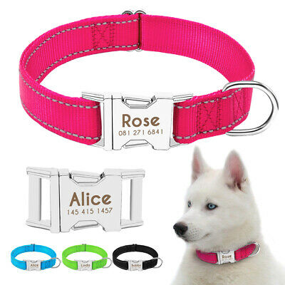 Nylon Personalized Reflective Dog Collar Pet Name ID Engraved Heavy Buckle Blue