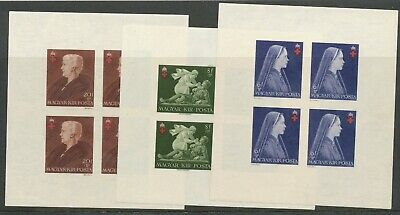 Hungary 1942 Imperf Red Cross Minisheets Mnh Nice! Bin£20.00