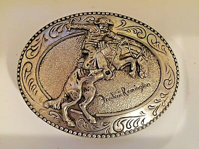 Vintage Frederick Remington riding horse Belt Buckle THE BRONCHO BUSTER