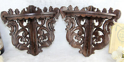 Antique pair German Black forest wood carved Dragon gothic wall consoles rare
