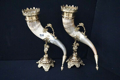 HUGE PAIR antique Cornucopia bronze brass putti angel horns greyhound head rare