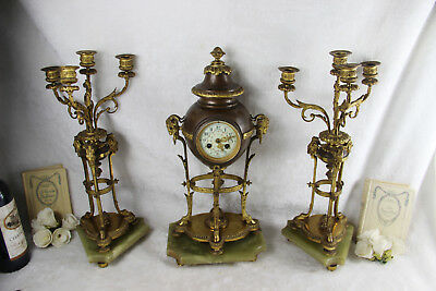 Antique empire French clock set candelabras ram heads paws onyx marble base