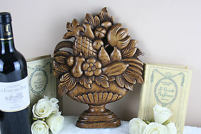 Vintage Italian wood carved Fruits pineapple etc wall plaque 1960's cute piece