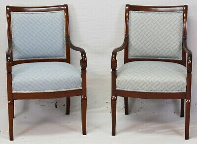 Pair KINDEL Neoclassical Style Carved Mahogany Open Arm Chairs Williamsburg Look