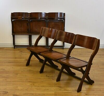 PAIR OF VINTAGE FOLDING SEATS THEATRE STATION DINING CHAIRS c1920s