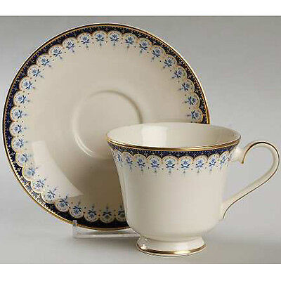 """Minton Consort Footed Cup & Saucer Set Bone China Blue Flowers Gold Detail 3.5"""""""