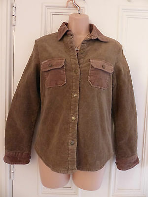 Joules Jeans size 10 brown quilted shirt pink lining and pockets on the chest