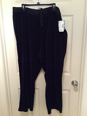 Liz & Me Sport Plus Black Velour Pants W/Drawsting, Size 2X, New With Tags